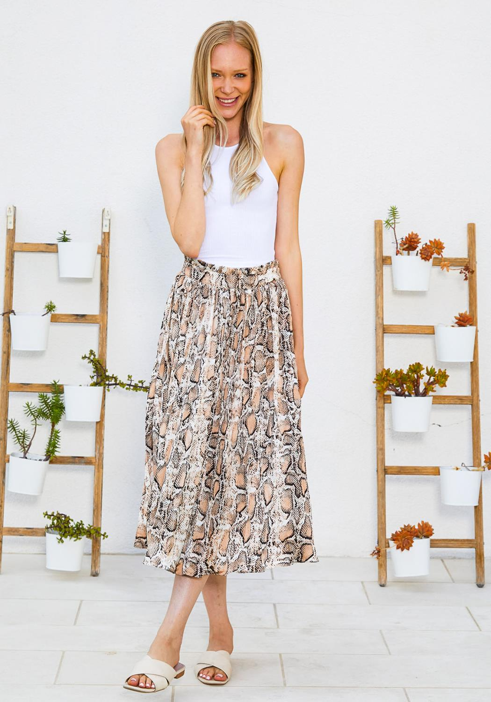 Tansy Snake Print Midi Skirt
