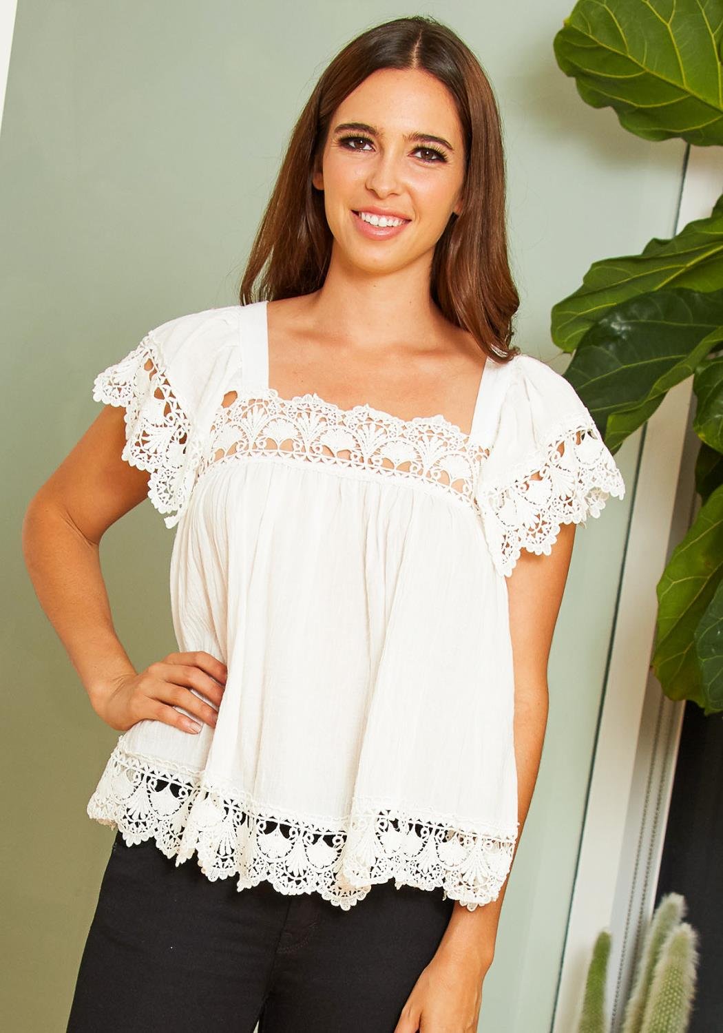 Tansy Antique Embroidered Hem Women Blouse