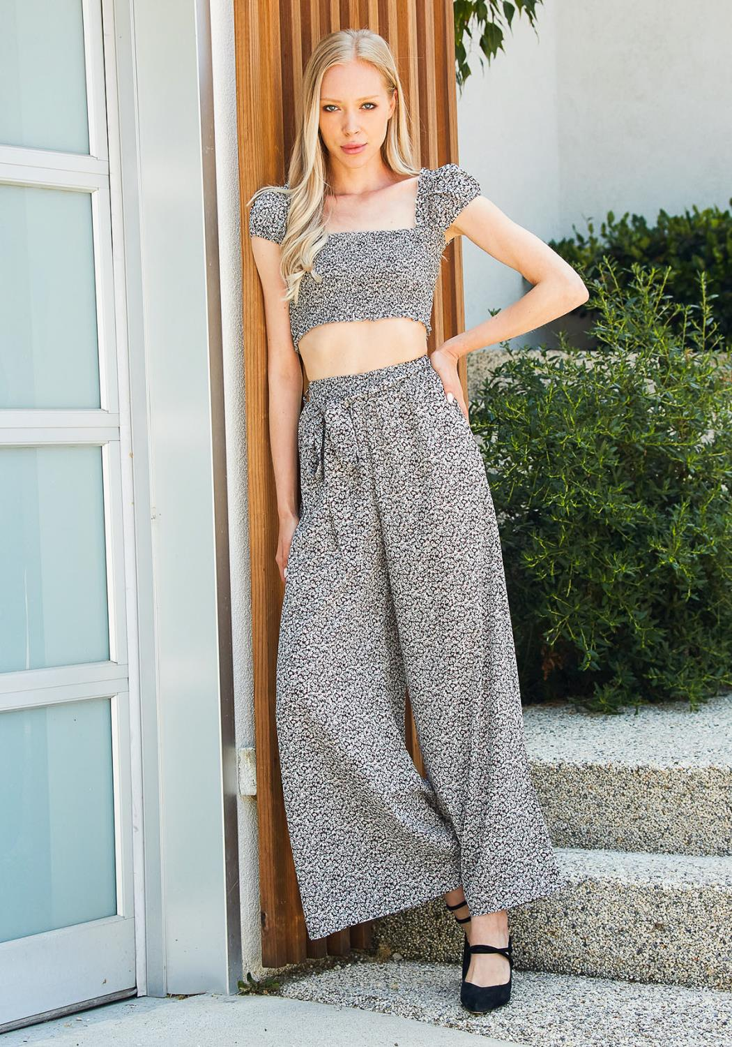 Tansy Trendy Crop Top & Pants Set