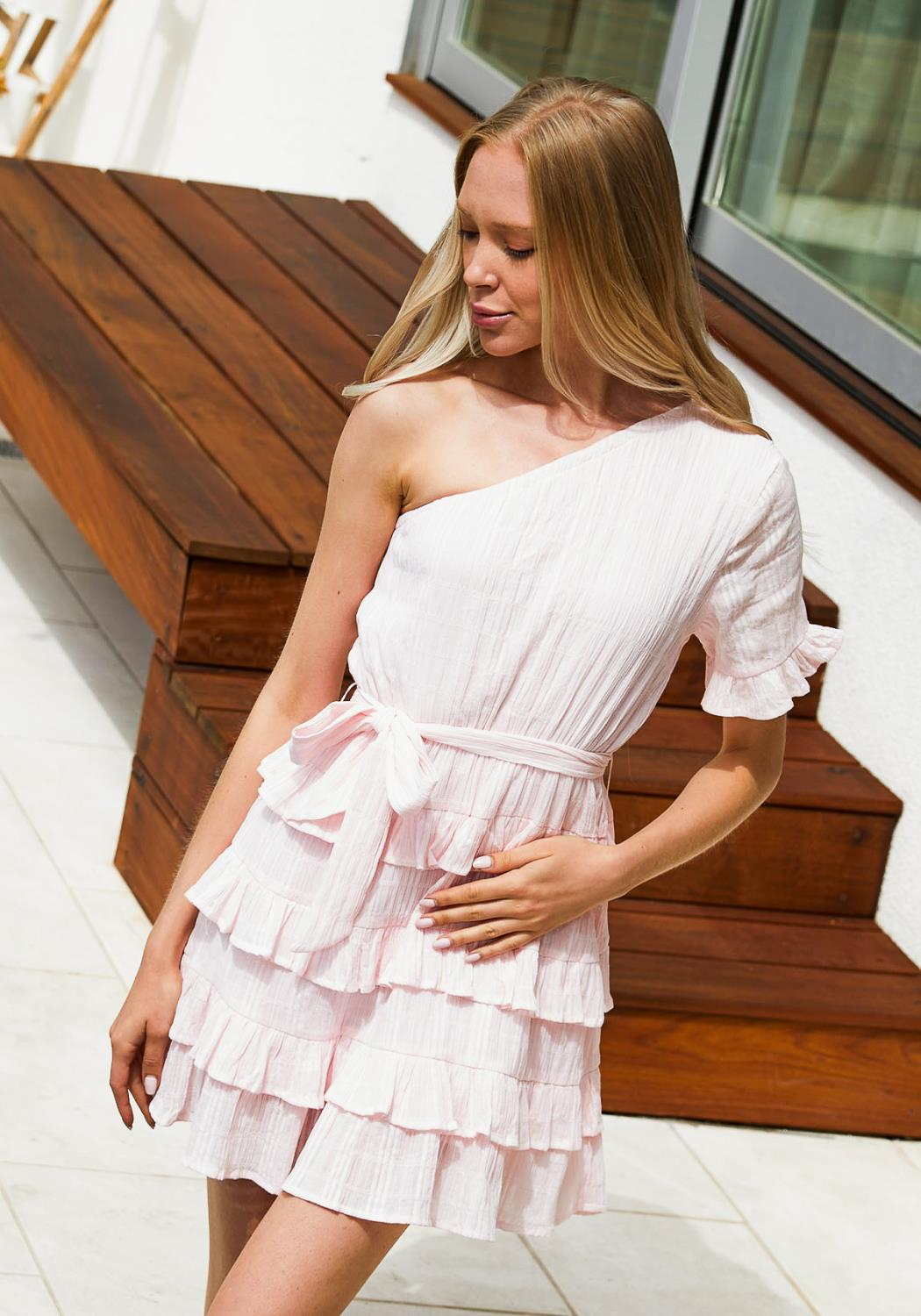 Tansy Ruffle One Shoulder Dress