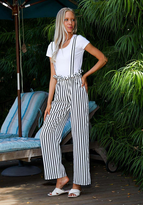 Tansy Stripe Suspender Pants
