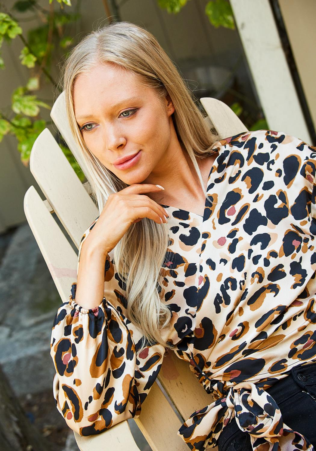 Tansy Leopard Wrap Blouse