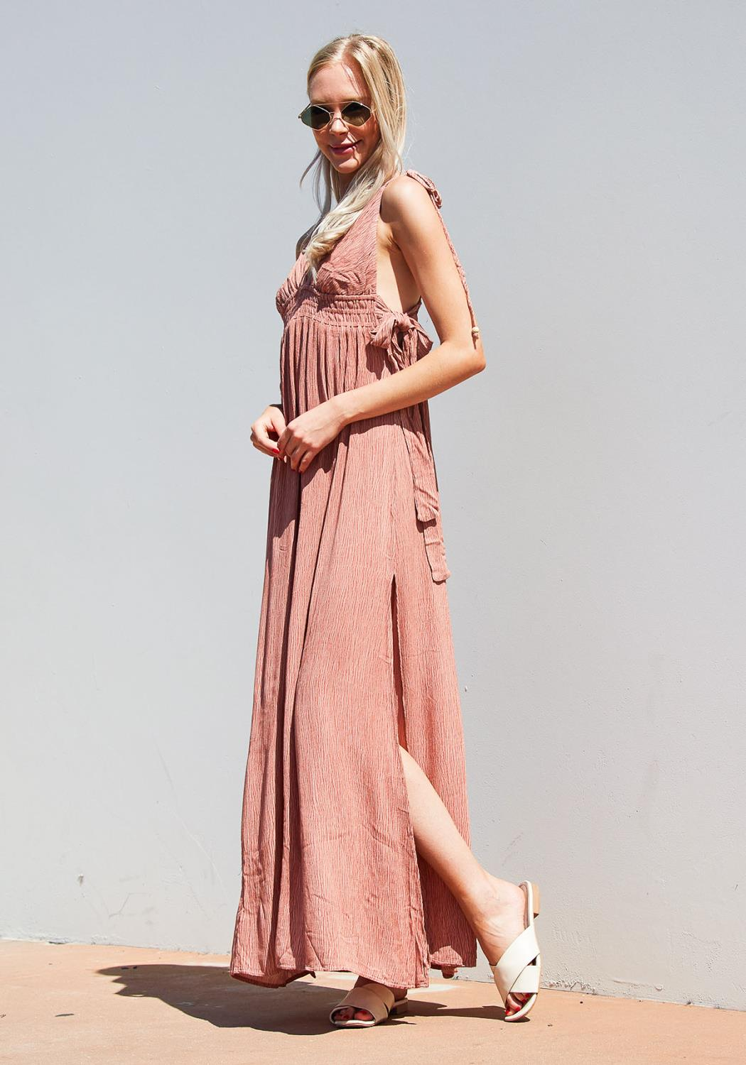 Tansy Textured Slit Hem Maxi Beach Dress