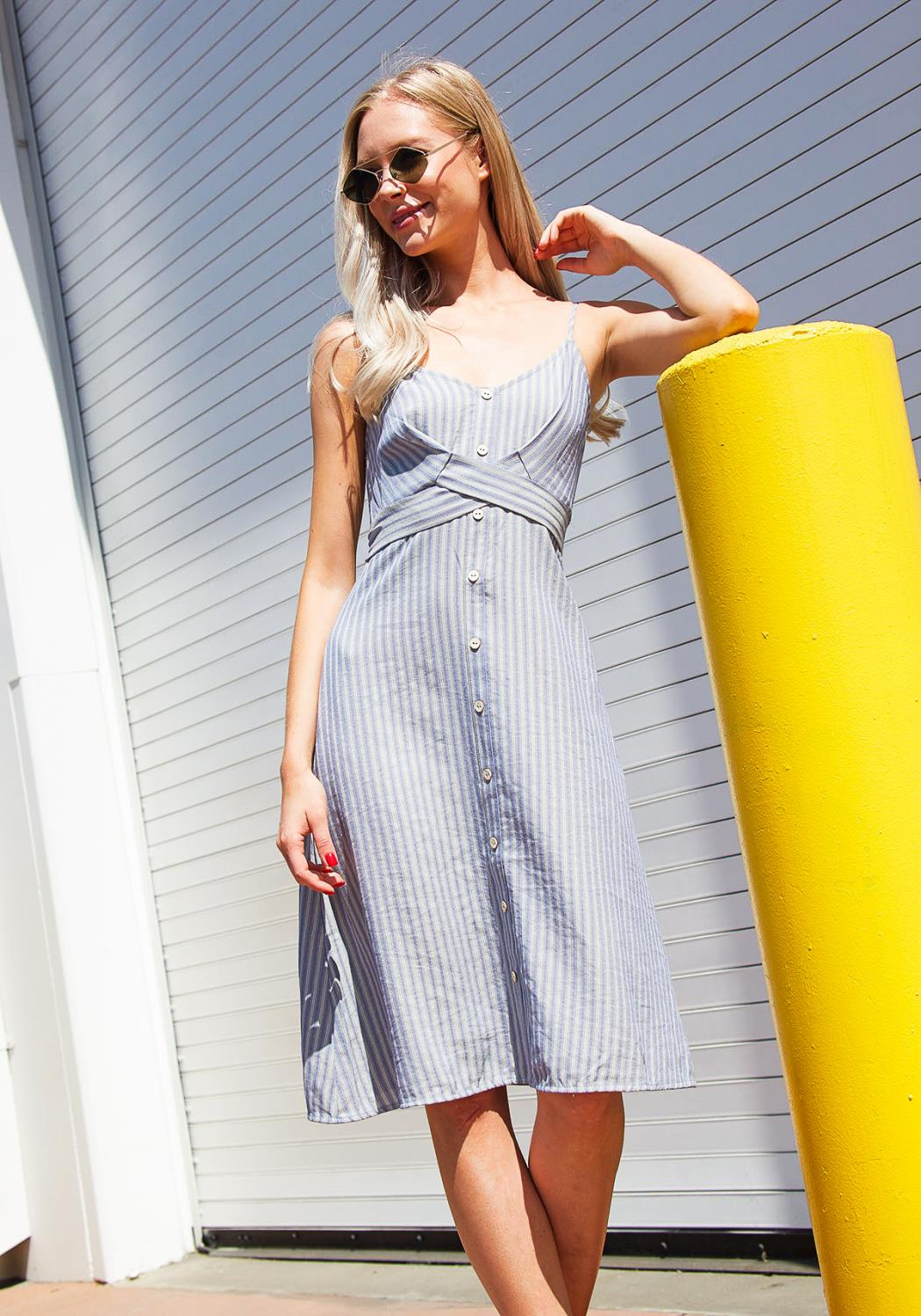 Tansy Stripe Button Down Mini Dress