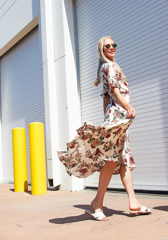 Tansy Summer Floral Hi Lo Maxi Dress