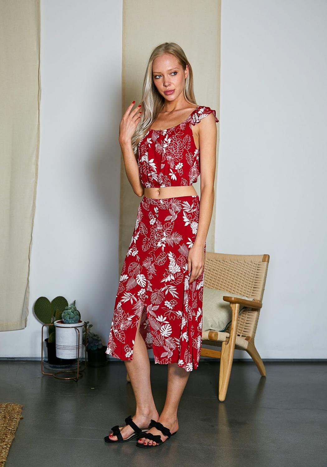 Tansy Leaf Print Top And Skirt Set