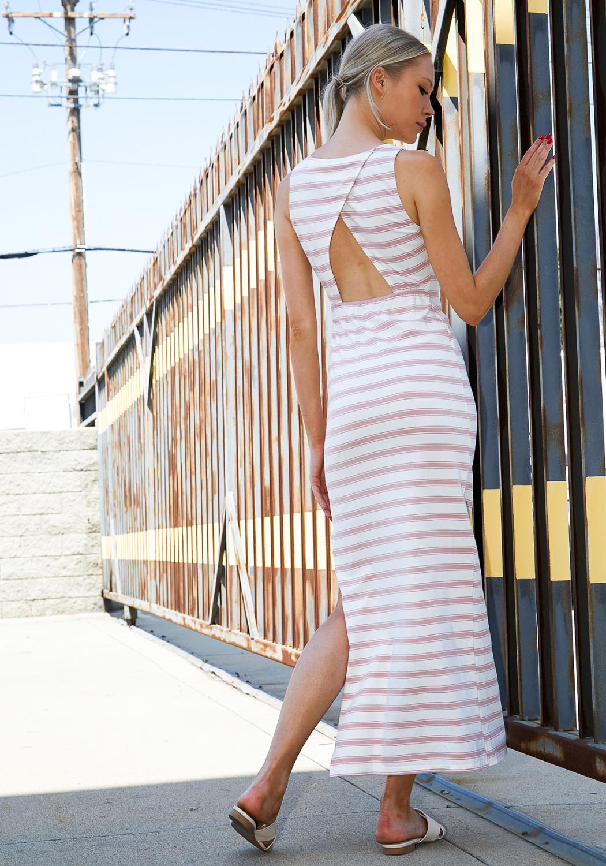 Tansy Stripe Open Back Sleeveless Maxi Dress