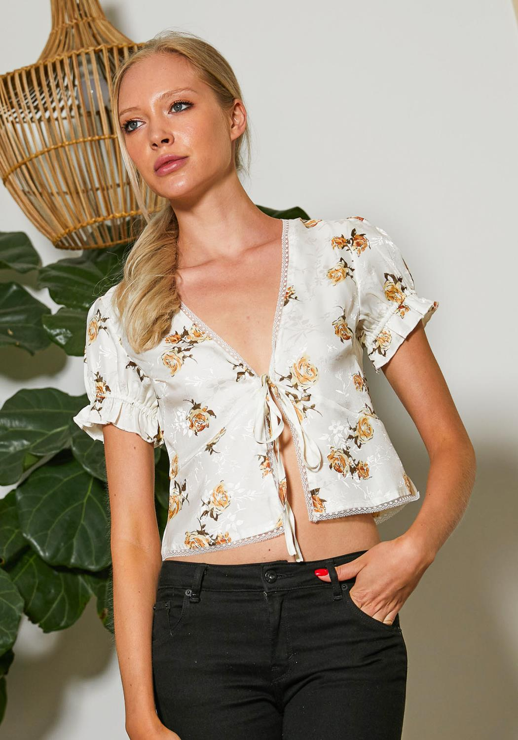 Tansy Floral Satin Crop Top Blouse