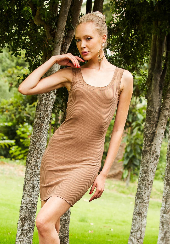 Tansy Khaki Women Muscle Dress