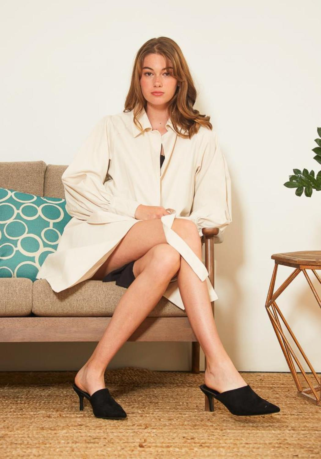 Tansy Oversized Womens Beige Collared Coat
