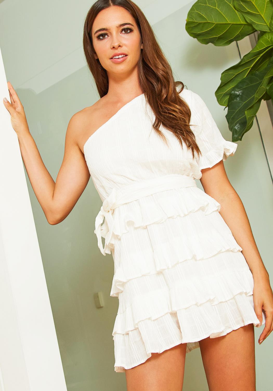 Tansy Womens One Shoulder Ruffle Mini Dress