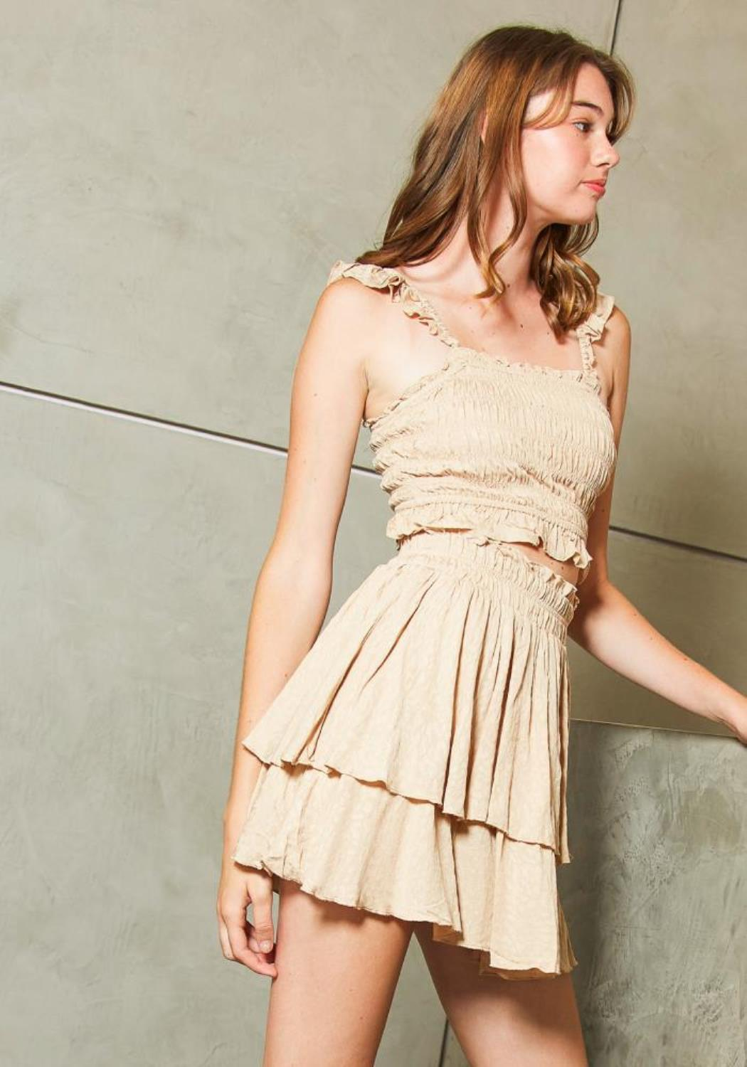 Tansy Womens Beige Shirred Crop Top and Flared Skirt Set