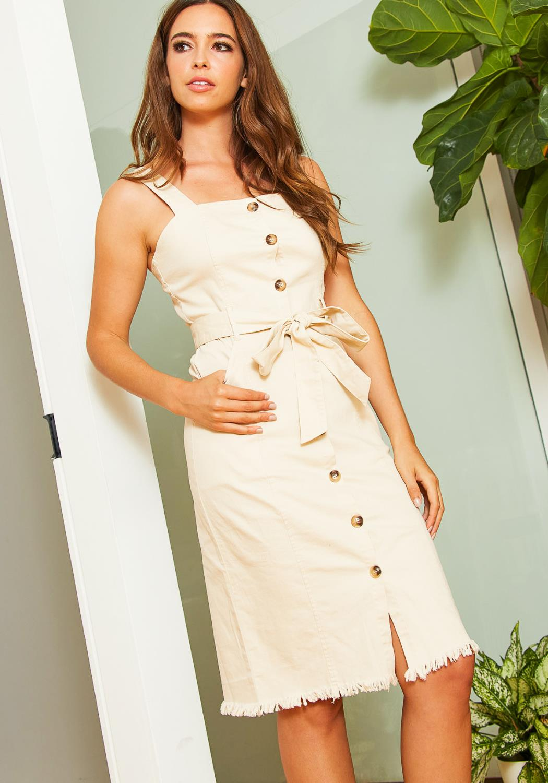 Tansy Womens Taupe Denim Midi Dress