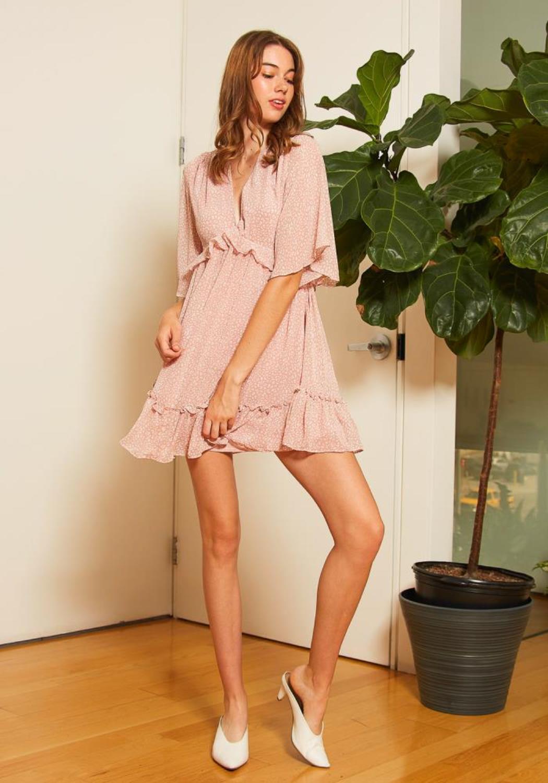 Tansy Womens Blushing Ruffle Dress