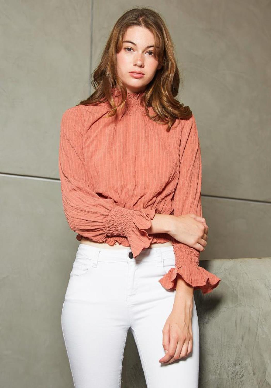 Tansy Vintage Womens Turtle Neck Blouse