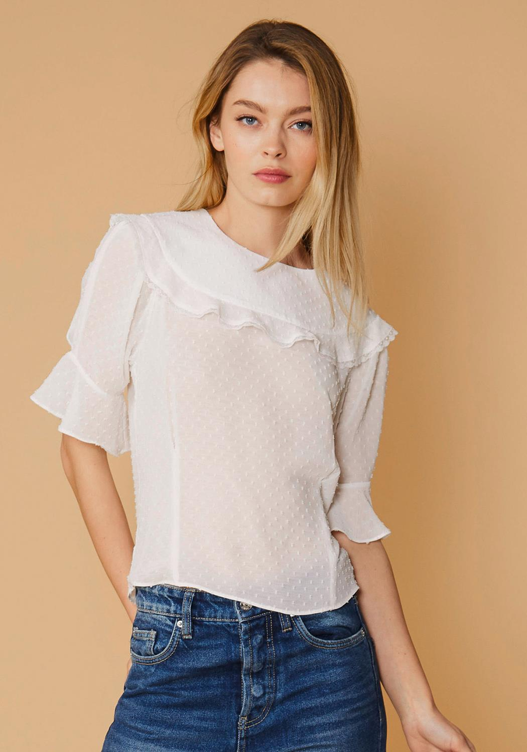 Nurode Swiss Dot Ruffle Sleeve Top