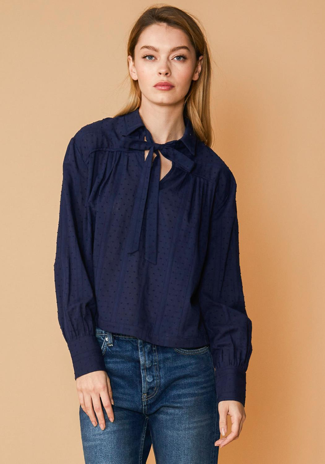 Nurode Dotted Tie Neck Blouse