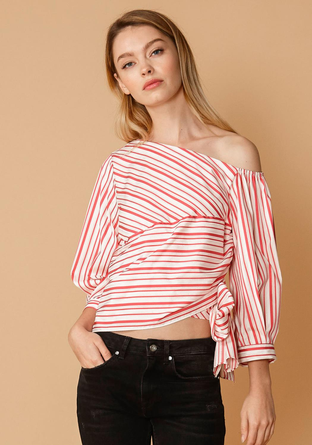 Nurode Satin Stripe One Shoulder Blouse