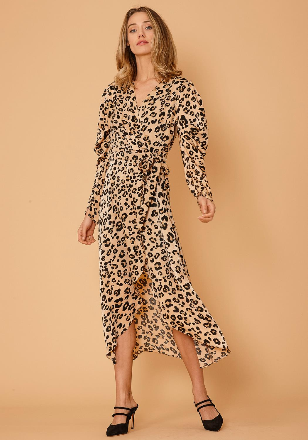 Nurode Leopard Print Puffy Shoulder Dress
