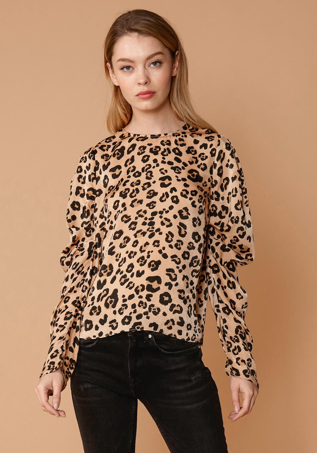 Nurode Leopard Print Puffy Shoulder Top