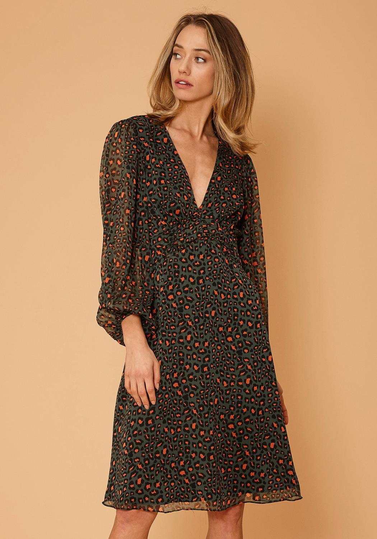 Nurode V-Neck Leopard Print Midi Dress