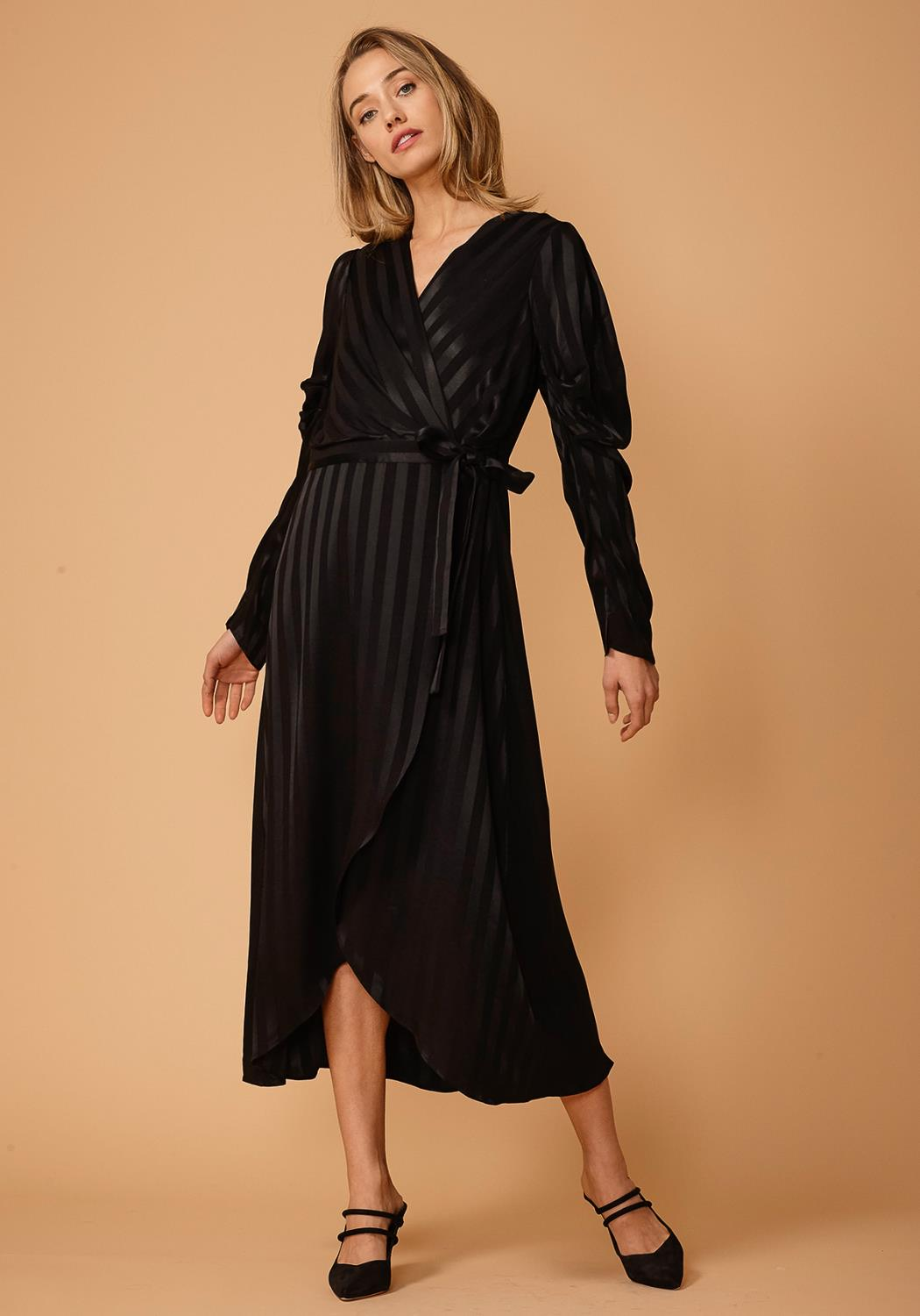 Nurode Stripe Satin Puffy Shoulder Dress