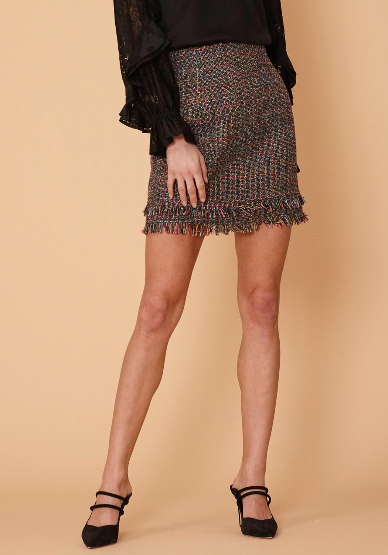 Nurode Black ribbon mini skirt