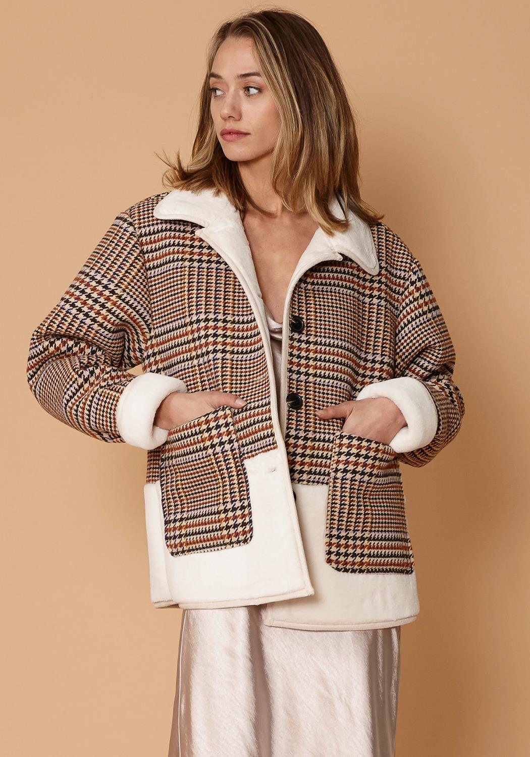 Nurode Plaid Fur Jacket