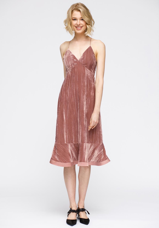 Nurode Velvet Spaghetti Strap Ruffle Hem Midi Dress Women Clothing