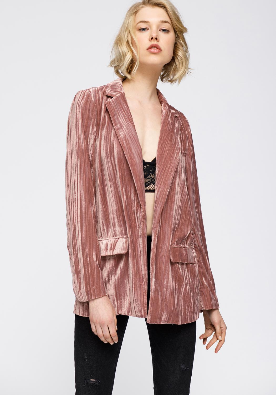 Nurode Velvet Blazer With Flap Pockets Women Clothing