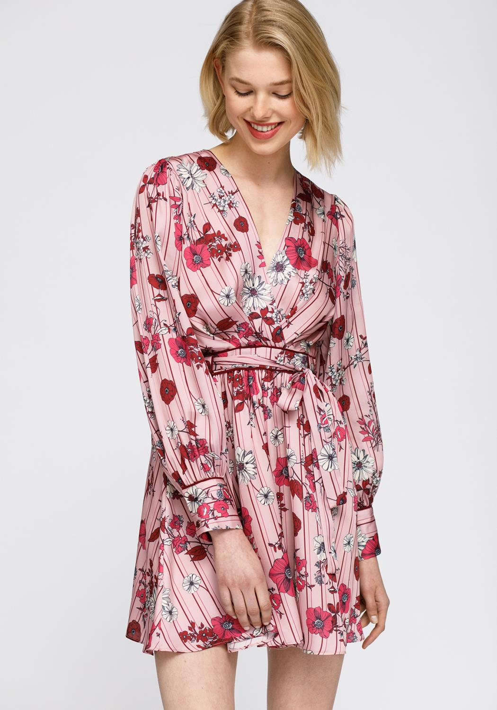 Nurode Pajama floral Satin Wrap Front Flared Dress Women Clothing