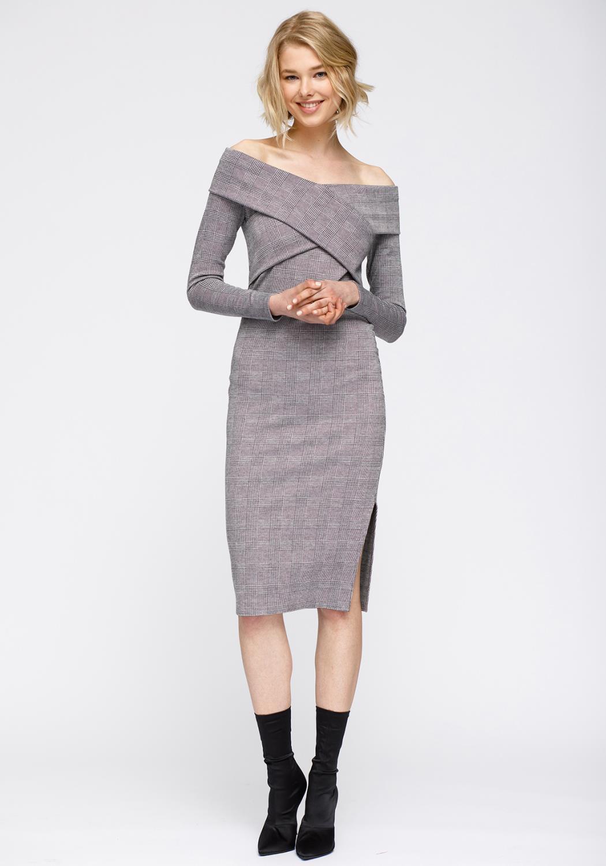 Nurode Glen Plaid Off Shoulder Crisscross Dress Women Clothing