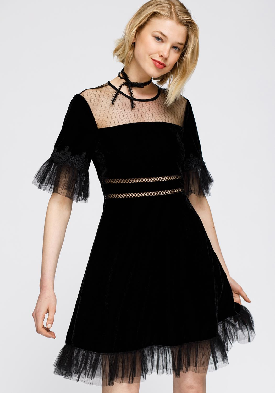 Nurode Mesh Contrast Velvet Dress Women Clothing
