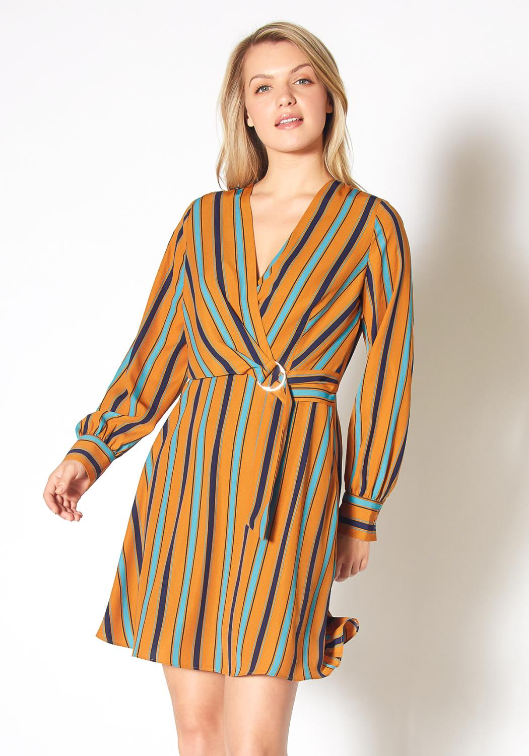 Pleione Multi Stripe Mini Wrap Dress