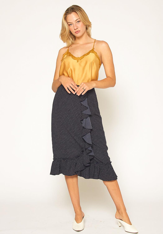 Pleione Womens Polkadot Ruffle Midi Skirt
