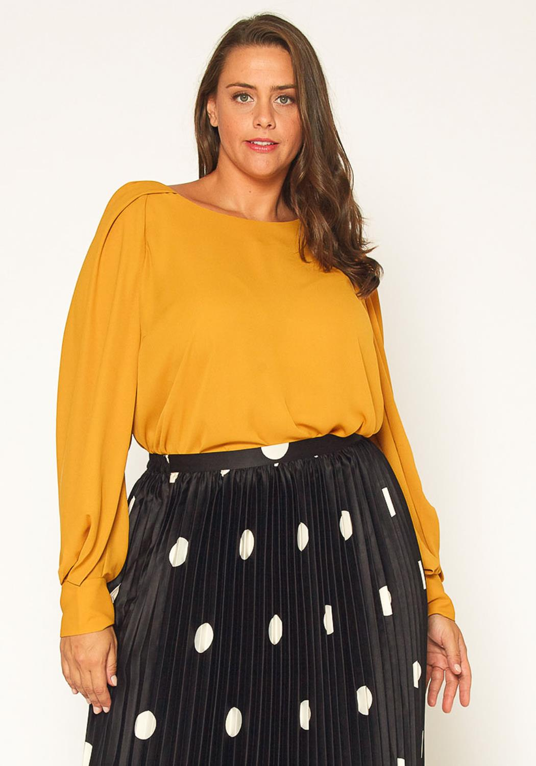 Pleione Plus Size Gathered Shoulder Blouse