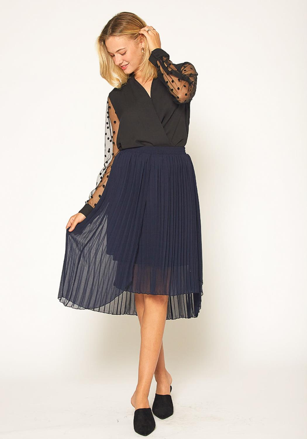 Pleione Pleated Asymmetrical Skirt