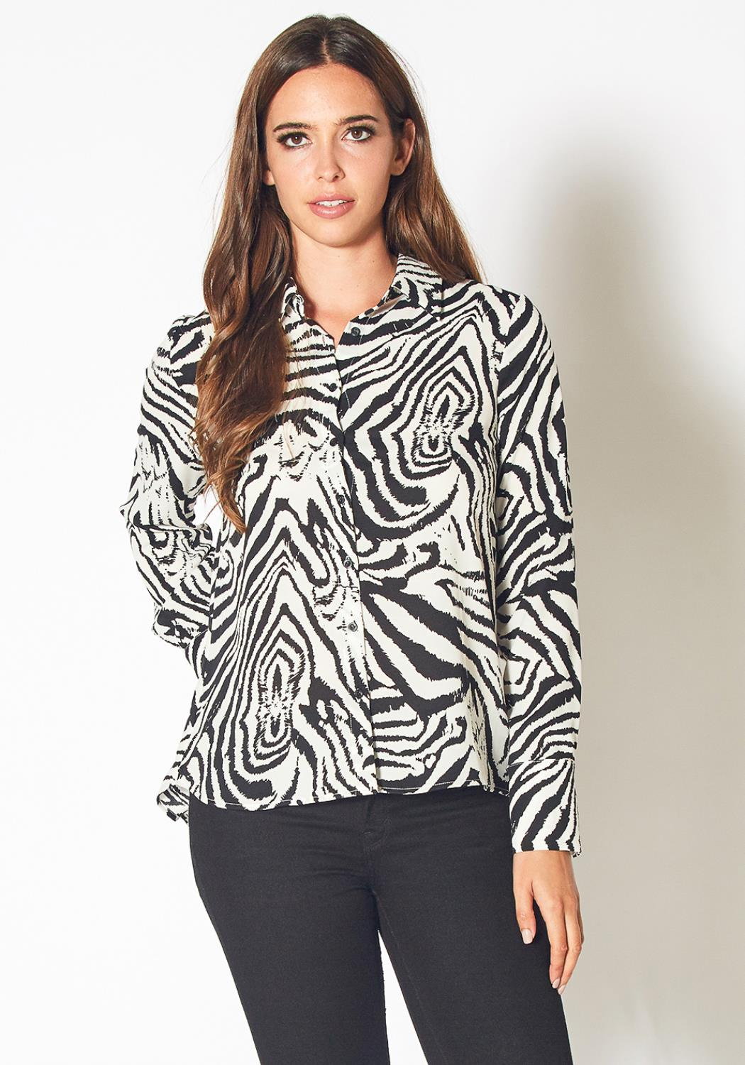 Pleione Zebra Button Up Shirt Blouse