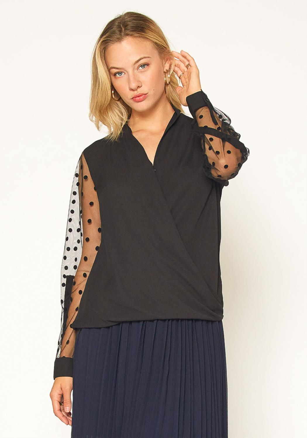 Pleione Mesh Dot Wrap Blouse