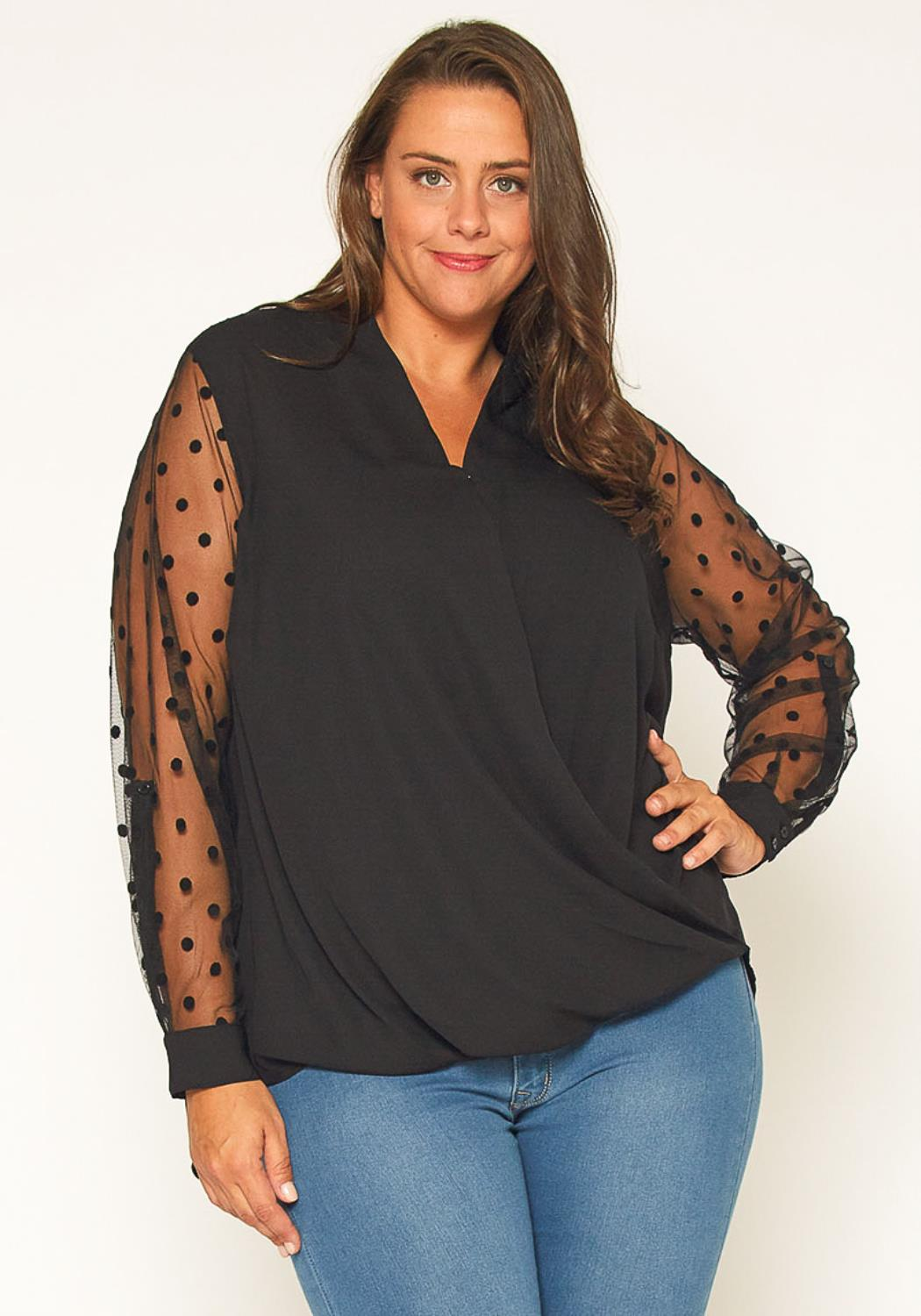 Pleione Plus Size Mesh Dot Wrap Blouse