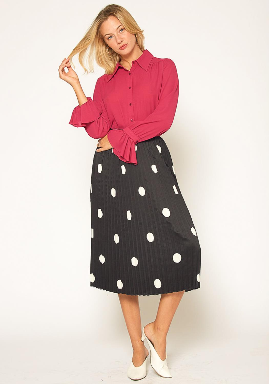 Pleione Pleated Polkadot Midi Skirt