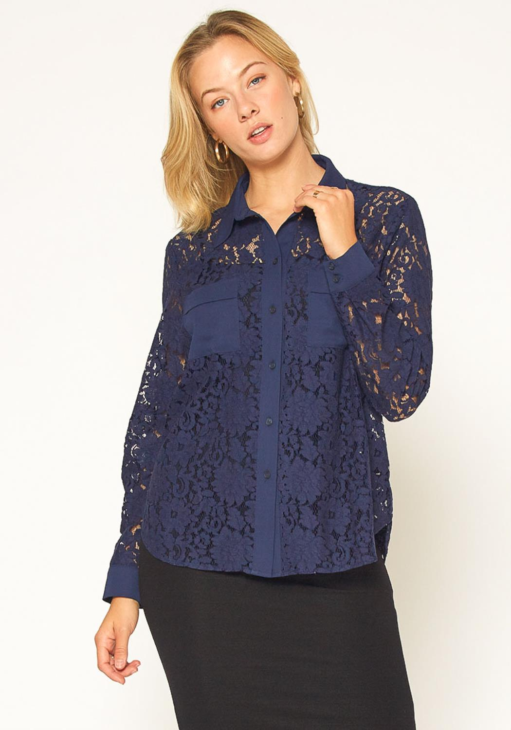 Pleione Button Up Flower Lace Blouse