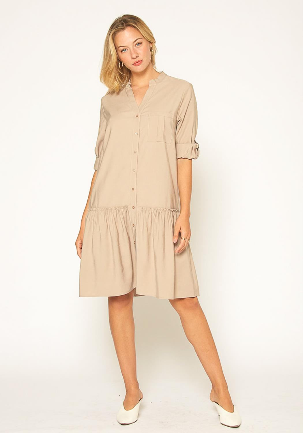 Pleione Button Up Tunic Shirt Dress