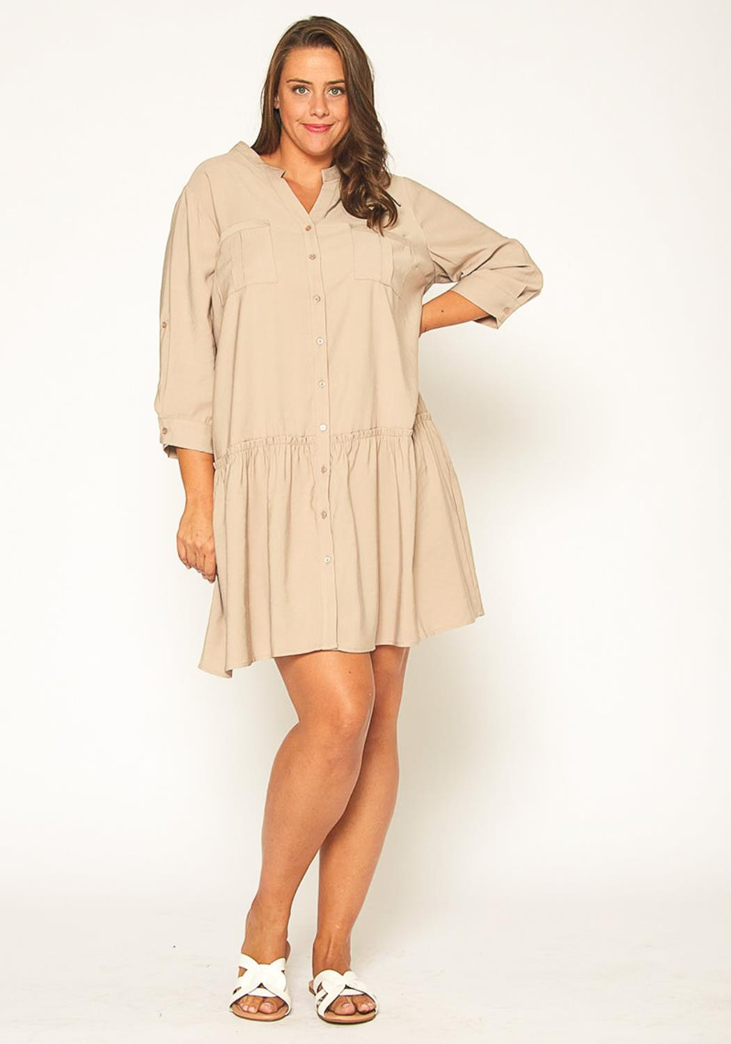 Pleione Plus Size Button Up Tunic Shirt Dress