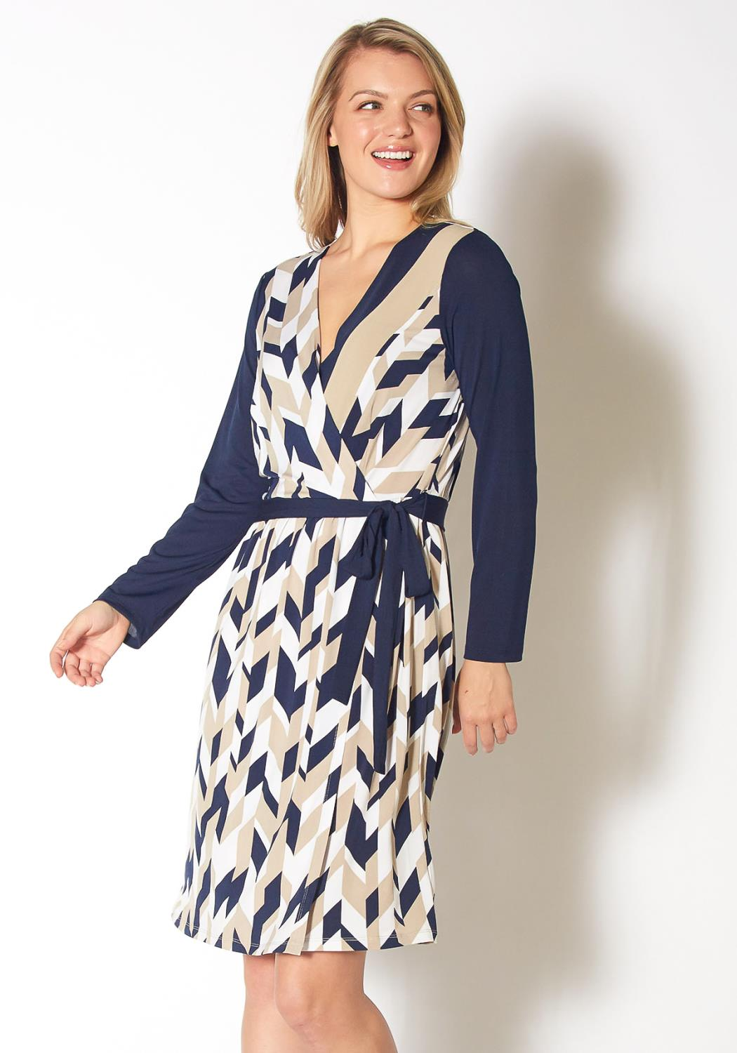 Pleione Geo Print Wrap Dress