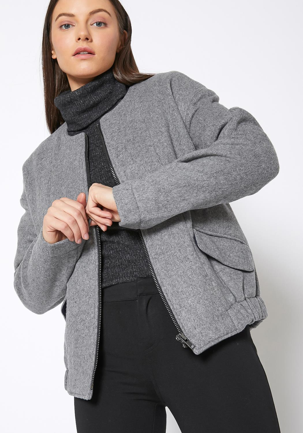 Ro & De Brushed Wool Fitted Crew Neck Jacket
