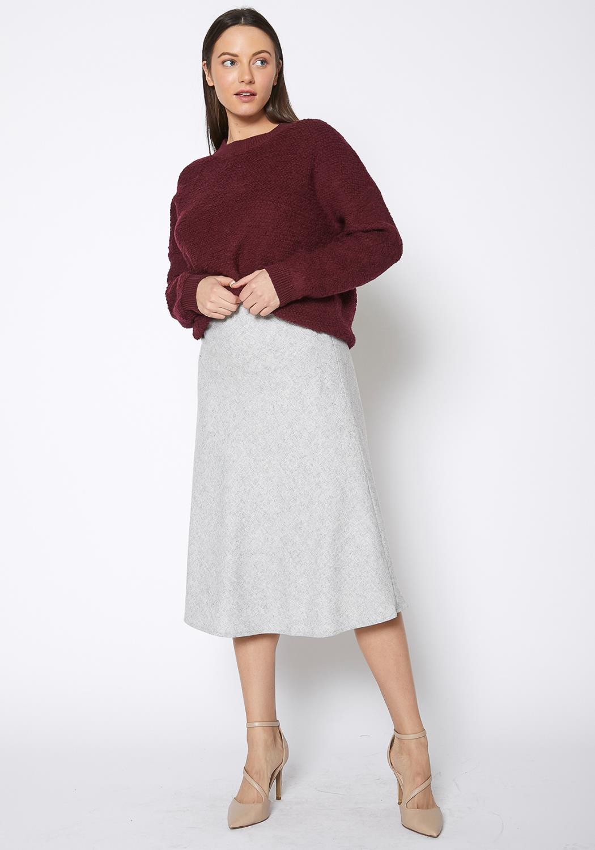 Ro & De High Waisted Wool Knit Midi Skirt