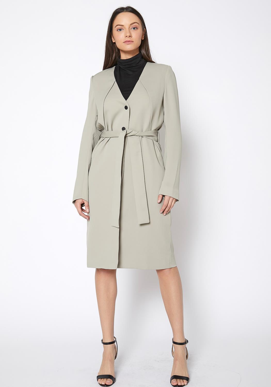 Ro & De V Neck Moss Longine Coat Dress
