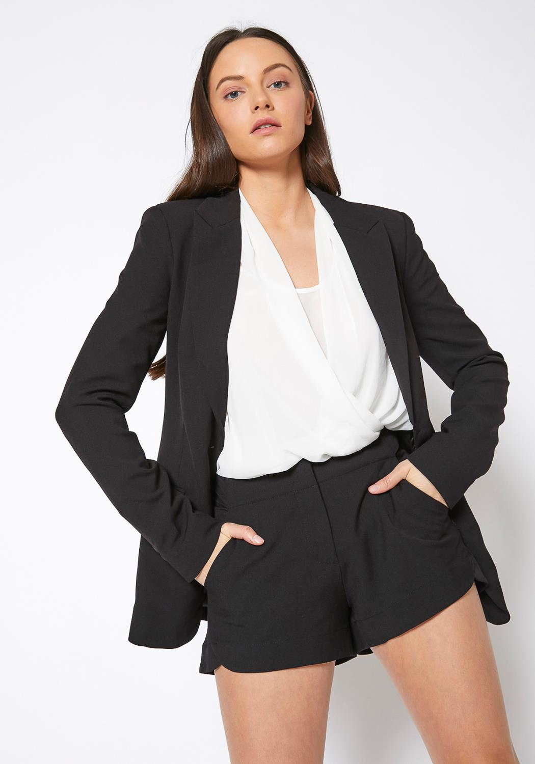 Ro & De Single Button Notch Collar Gabardine Blazer