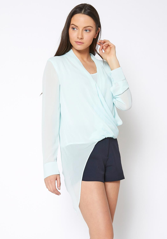 Ro & De Drape Front Asymmetrical Elegant Blouse